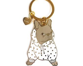French Bulldog Keychain/ Dog Lover Gift/ Dog Enamel Keychain/ French Bulldog Gift/ Bulldog Gift/Dog Mom Gift/Enamel Keychain/ Blue Frenchie