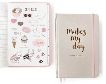 Daily Planner/ Daily Planner Undated/ Gratitude Journal/ French Bulldog Sticker/Fabric Cover Planner/French Bulldog Gift/ Daily Agenda