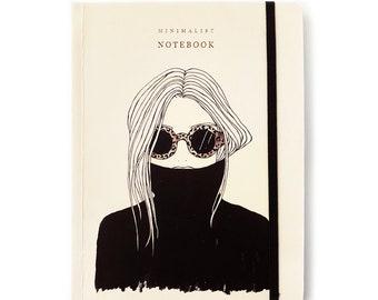 Fashion Girl Notebook/ Fashion Illustration/ Lined Notebook/ Lined Journal/ Best Friend Notebook Gift/ Minimalist Notebook/ Fashion Journal