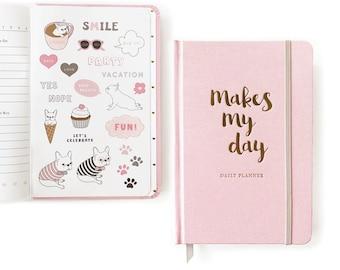 Daily Planner/ French Bulldog/ Planner Sticker/Fabric Cover Planner/French Bulldog Gift/Dog Stickers/Pink Daily Planner Undated/Daily Agenda