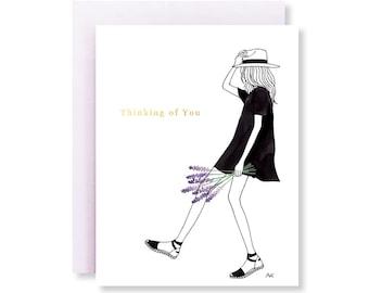 Lavender Thinking of You Card/ Thinking of You/ Lavender Floral Card/ Fashion Illustration/ Botanical Card/ Gemini Gift/ Flower Illustration
