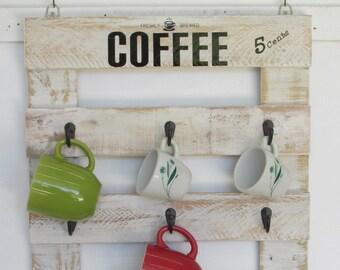 9 cup Coffee Mug Rack, Ready To Ship, Reclaimed wood, Office Décor, Country , Coffee Lover, Tea Cups, Coffee wall art, Coffee Lover gift