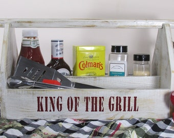 Grill Caddy Utensil Holder BBQ Bar Be Que Tailgate Tailgating Chillin and Grillin Grooman's Gift BBQ Rub Reclaimed Rustic Farmhouse Best Man