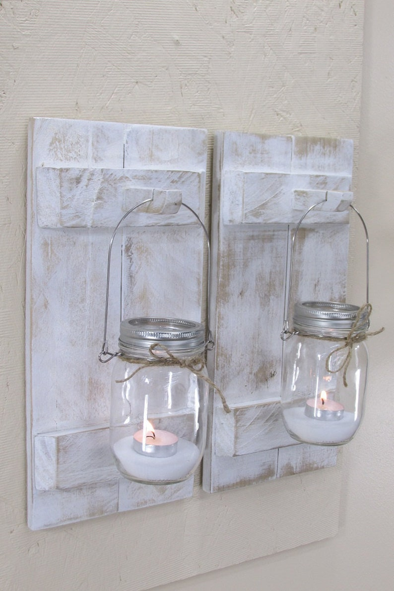 Wood Shutter Candle Sconce Farmhouse Decor French Country image 0