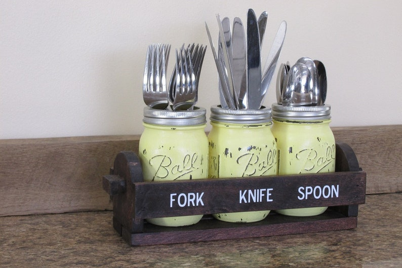 Mason Jar Silverware Holder Tailgating Chillin and Grillin image 0