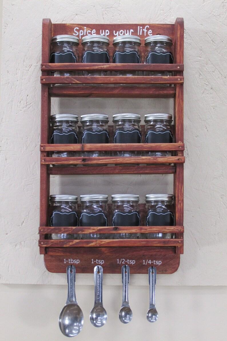 12 Jar Spice Rack Mason Jar Spice Rack Spice Jar Rack image 0
