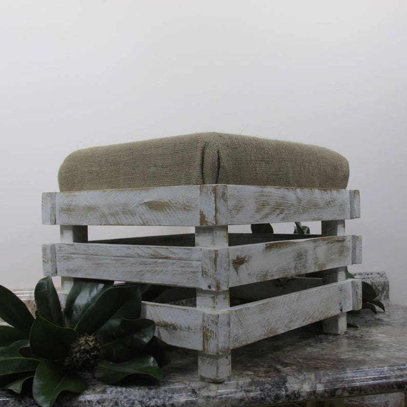 Large Farmhouse Style Shabby Chic Footstool Rustic Ottoman image 0