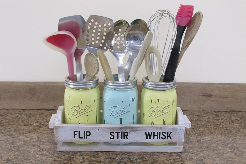Mason Jar Utensil holder Mason Jar Kitchen Décor Kitchen image 0