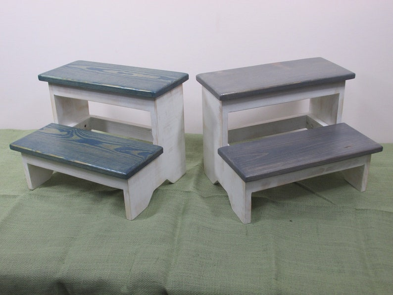 Rustic Two Step Stool Wooden Step Stool Kid Step Stool image 0