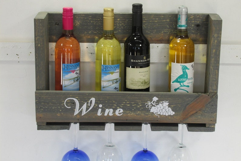 Rustic Wine Rack Reclaimed Wine Rack Handmade Farmhouse Wall image 0