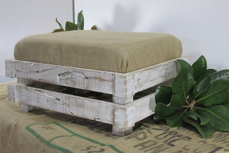 Farmhouse Style Shabby Chic Footstool Rustic Ottoman image 0