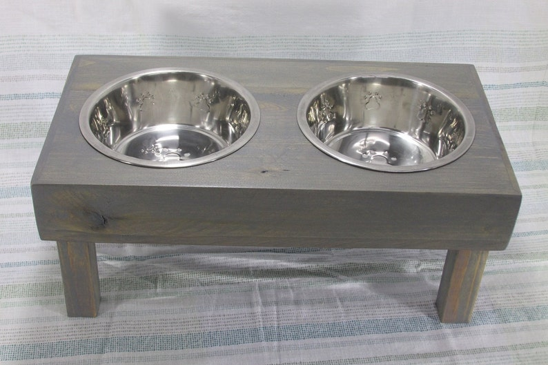 Large Dog Bowl Stand Raised Dog Bowl Feeder Rustic Dog Feeder image 0