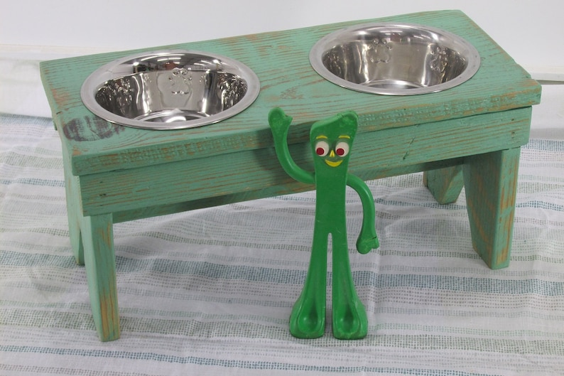 Small Dog Bowl Stand Bench Raised Dog Bowl Feeder Rustic Dog image 0