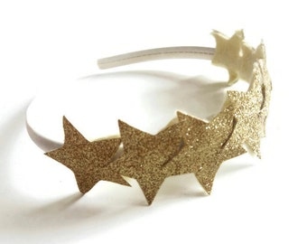 Gold Star Headband - Girls Headband - Glitter Star Crown - Birthday Headband - Star Halo Headpiece - Star Tiara