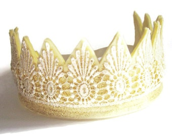 Gold Crown - Felt Crown -  Princess Crown - Lace Crown -  Party Crown -  Photo Prop - Dress Up - Fancy Dress -  Bridesmaid Crown -  Prince