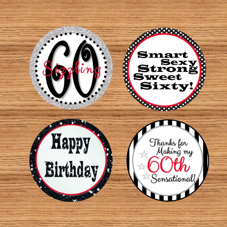 Printable 60th Birthday Favor Tags Cupcake