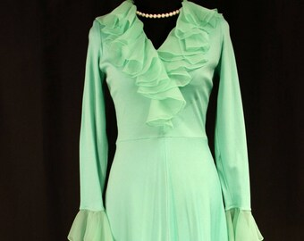 Vintage 1960's Sea Green Miss Elliette Maxi Dress Gown with Chiffon Ruffles, Empire Waist, V-Neck, Long Sleeves - Small or Medium
