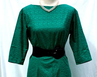 Vintage 1960's Teal Green 3/4 Sleeve Dress - Sm Med, Jaquared Textured Mod