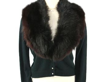 Vintage Mink Fur Shawl Collar Cardigan Sweater w Rhinestone Buttons Black - S M