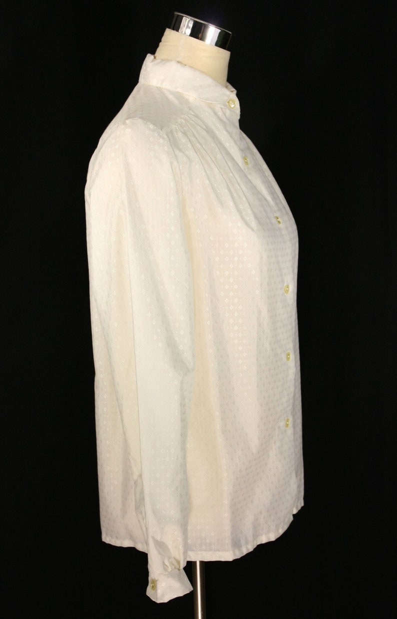 Vintage Sears Jr Bazaar Off White Diamond Jacquard Small Collar Blouse Juniors 11