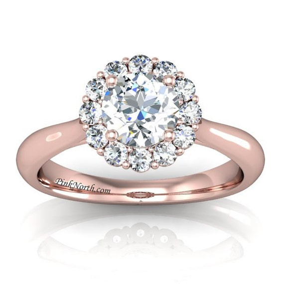 fe025a406e9 14k Rose Gold Flower Halo Engagement Ring - 1.38ctw Round Cut Forever One  DEF Moissanite and Diamonds