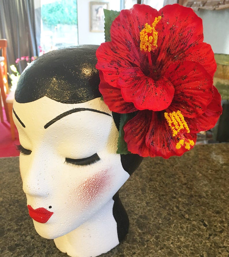 Double Red Hibiscus With Black Sparkle Pinup Hair Flower Etsy