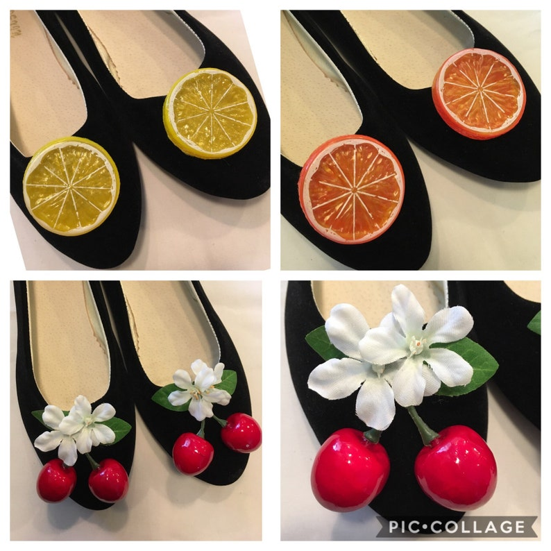 1950s Jewelry Styles and History Pinup fruit shoe clips! Choose from cherries lemons or oranges. $5.00 AT vintagedancer.com