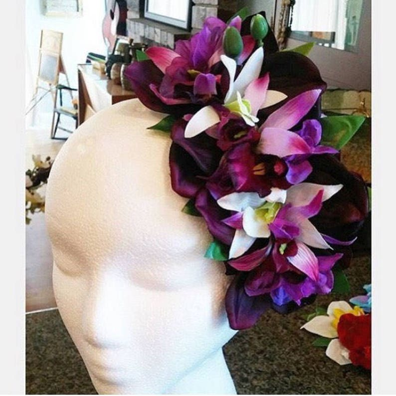 New Fifties Dresses | 50s Inspired Dresses Tiki Vamp pinup hair flower half crown with deep purple orchids and purple and white flowers. $22.00 AT vintagedancer.com