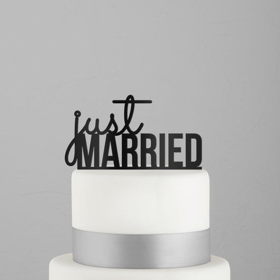 Just Married Cake Topper Quality Acrylic Party Decorations Wedding Black