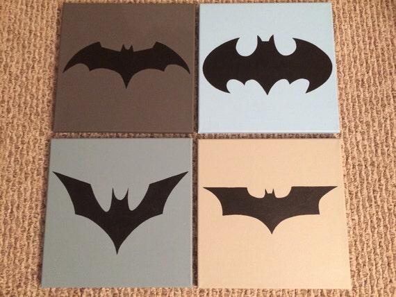 Ready To Ship Batman Generations Logos Bat Symbol Hand Painted Etsy