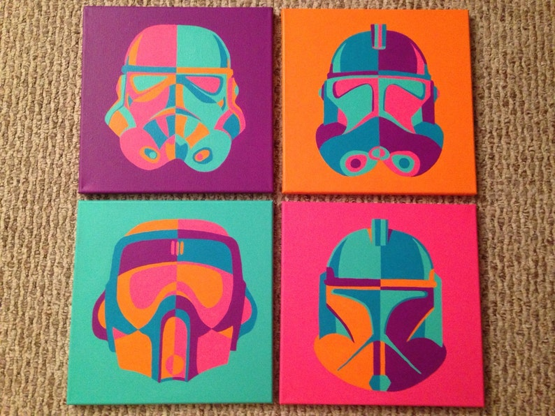 Star Wars Troopers Pop Art Multiple Canvas Set of 4 12x12 Canvases