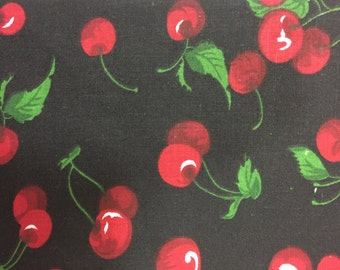 by the yard red cherry style fabric printed dots and cherry fabric cotton fabric Blackwhite color fabric