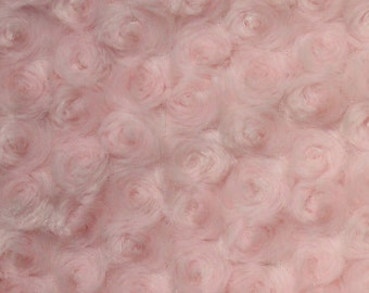 """58/""""// 60/"""" Charcoal Swirl Rose Bud Fluff Minky Fur Fabric Sold By The Yard"""