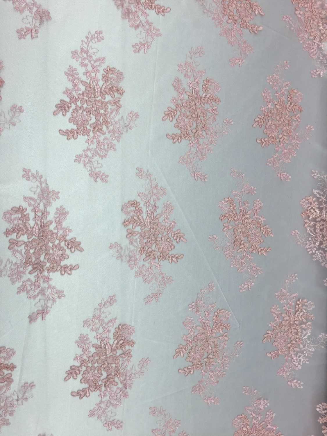 Dusty Pink Oswald Floral Wedding Gown Dress Lace Fabric - Sold By ...