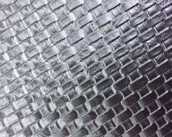 """Silver Basket Weave Woven Upholstery Vinyl Fabric - Sold By The Yard - 54"""" / 55"""""""