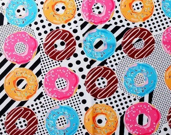 Sprinkled Donut Print 4 Way Stretch Swimwear Apparel Yoga Athleisure Spandex Fabric - Sold By The Yard