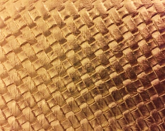 "Gold Basket Weave Woven Upholstery Vinyl Fabric - Sold By The Yard - 54"" / 55"""