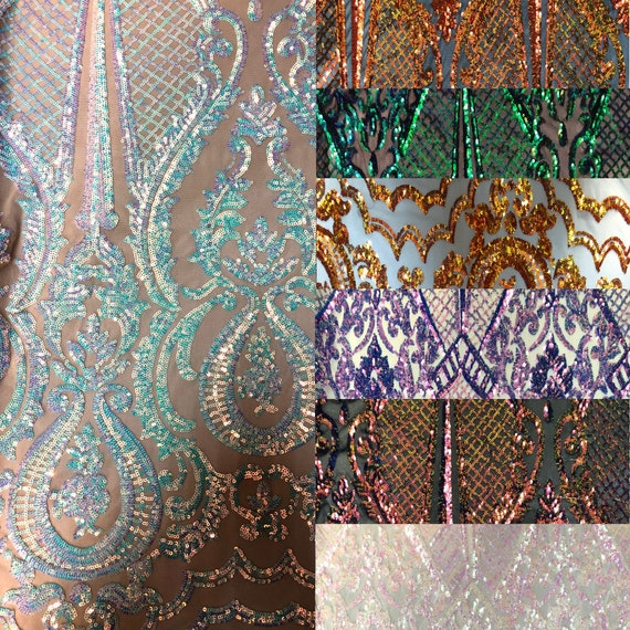 Sold By The Yard Gold Chantal Deluxe 4 Way Stretch Nylon Spandex Wedding Prom Formal Sequin Fabric