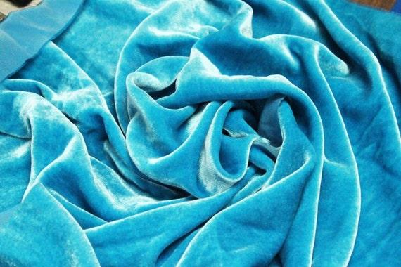 TURQUOISE BLUE Silk VELVET Fabric