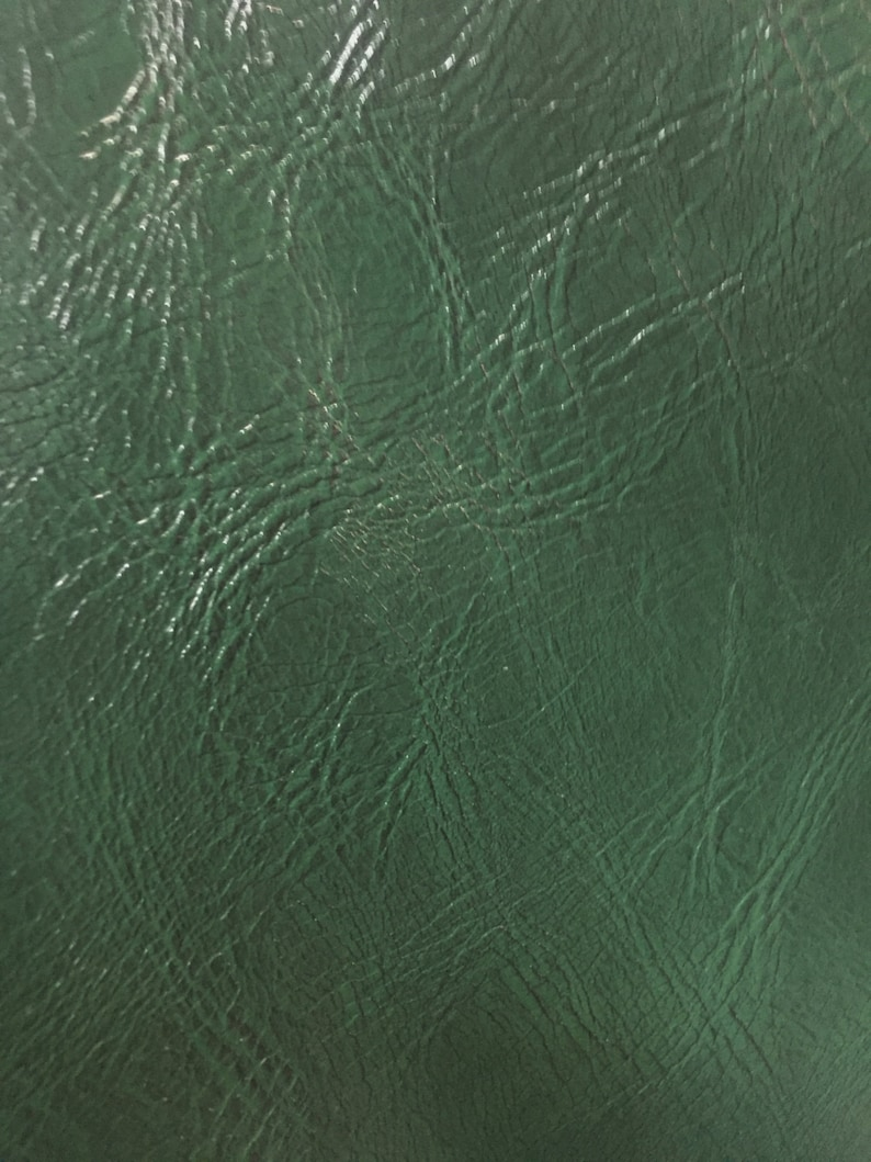 Hunter Green Distress Upholstery Faux Leather Vinyl Fabric  image 0