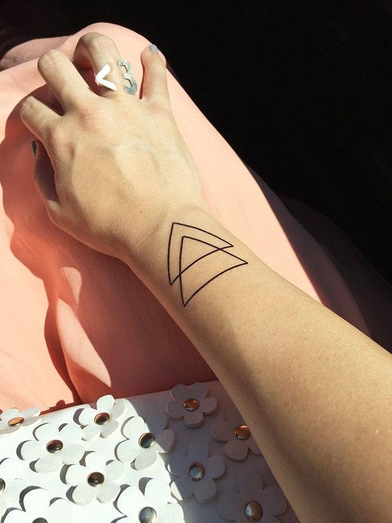 Double Triangle Triangle Vide Et Plein Tatouage Temporaire Etsy