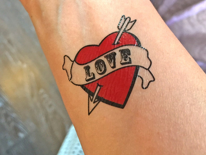 Rockabilly Tymczasowy Tatuaże Serca Inicjały Tatuażu Miłość Tymczasowy Tattoo Napisane Akcesoria ślubne Tatuaż ślub