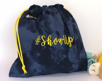 ShowUp Hashtagbag, Blue and Gold #ShowUp, Grip Bag, Draw String bag