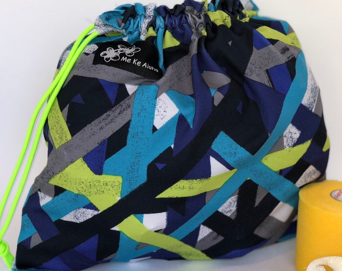 Green Blue Grey geometric, Gymnastic Grip drawstring bags, drawstring bag, grip bag, gym bag, gymnastic bag, swimsuit bag