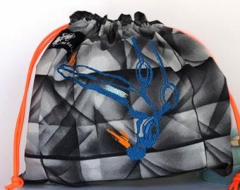 Men's Grip Bag, Rings Flying High, Grip Bag, draw string bag, embroidery