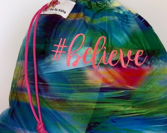 Believe Hashtagbag, #believe in 8 color choices, Grip Bag, Drawstring Bag