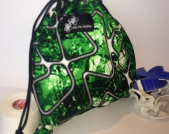 Green Geometry, Gymnastic Grip drawstring bags, drawstring bag, grip bag, gym bag, gymnastic bag, swimsuit bag