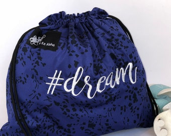 Dream Hashtagbag, #dream in 8 color choices, Grip Bag, Draw String Bag