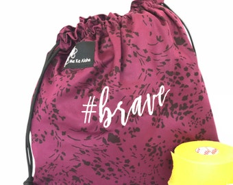 Brave Hashtagbag, #brave in 7 color options, Grip Bag, Draw string bag