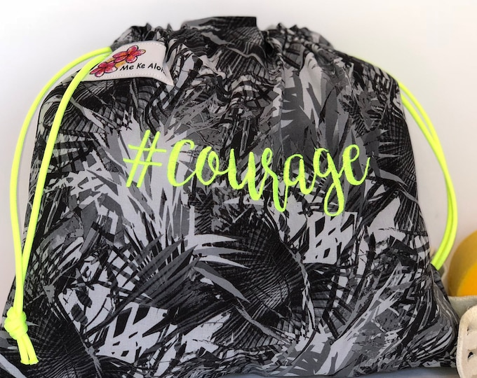 Courage Hashtagbag, #courage in 9 color choices, Grip Bag, Drawstring Bag